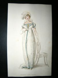 Ackermann 1809 Regency Fashion Print. Evening Full Dress